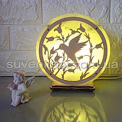 Соляной светильник круглый Колибри