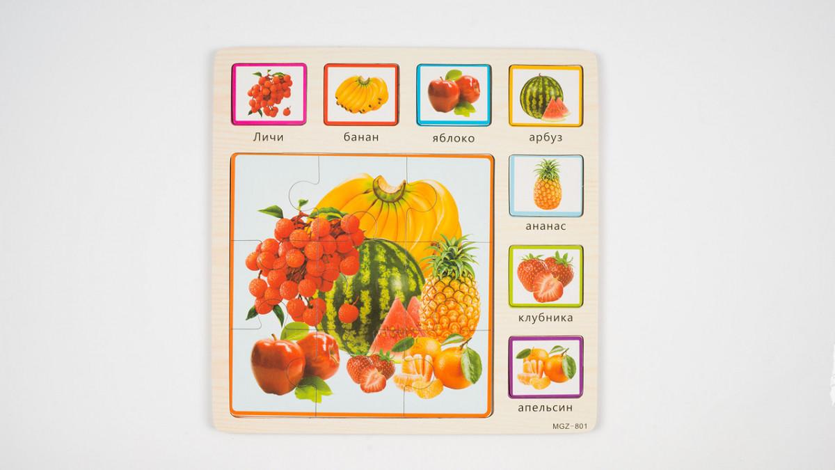 Пазли Дерев'яна іграшка MD 1203 овочі і фрукти кул., 30-30-0,5 см.