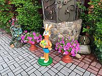 """Садовая фигура Заяц """"Ну погоди"""". садово-парковые сказочные персонажи."""
