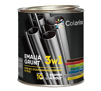 Грунт-эмаль Черная RAL 9005 3в1 по ржавчине Colorina 2.5 кг (Краска колорина антикоррозийная)