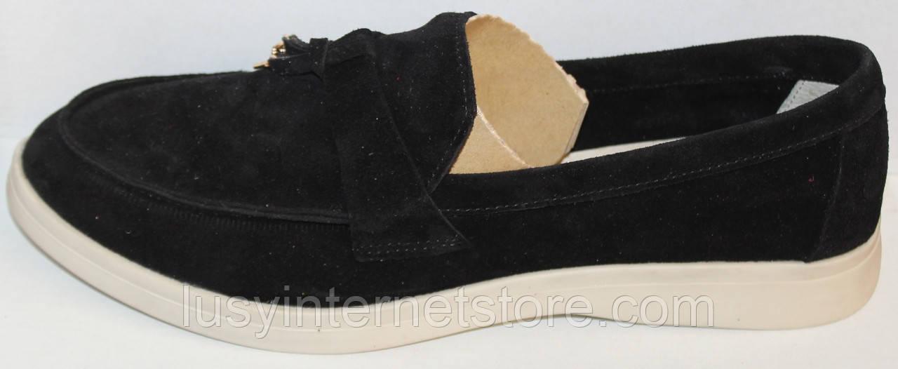 Мокасины черные женские замшевые от производителя модель ЛД011-4