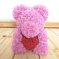 Мишка из искусственных 3D роз с сердечком TED 40см, розовый, до 5лет, мишка из цветов, подарок для девушки