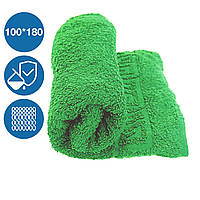 Махровая простынь 100х180 см плотность 430 г/м2 100% хлопок с бардюром петлевая Туркменистан зеленая
