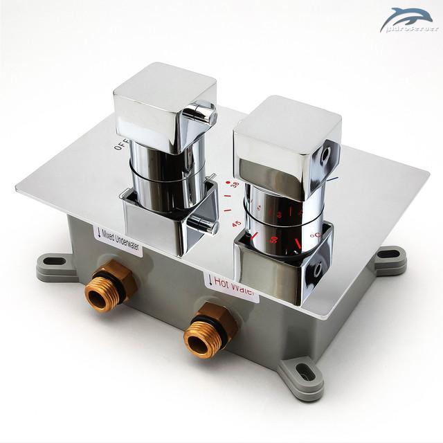 Термостатический смеситель скрытого монтажа KVTB-03 с переключателем на 3 режима работы.