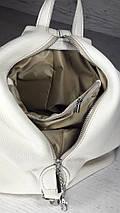 """292 Натуральная кожа, Городской рюкзак кожаный зеленый рюкзак женский зеленый рюкзак с карабином """"антивор"""", фото 3"""