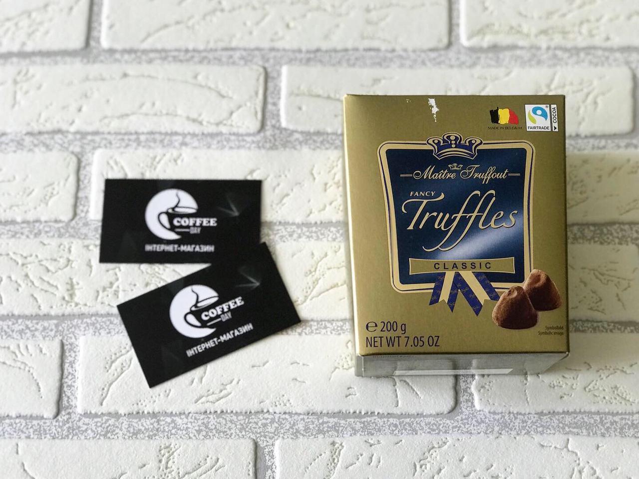 Шоколад Maitre Truffout Truffles Classic, 200г, класичний трюфель з темного бельгійського шоколаду