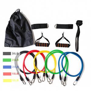 Набор трубчатых эспандеров для фитнеса и упражнений 5 шт 151139