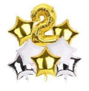 Набор шариков фольгированных Цифра 2 золото со звездами