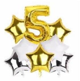 Набор шариков фольгированных Цифра 5 золото со звездами