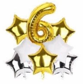 Набор шариков фольгированных Цифра 6 золото со звездами