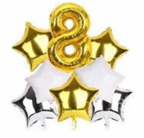 Набор шариков фольгированных Цифра 8 золото со звездами