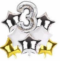 Набор шариков фольгированных Цифра 3 серебро со звездами