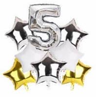 Набор шариков фольгированных Цифра 5 серебро со звездами