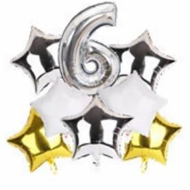 Набор шариков фольгированных Цифра 6 серебро со звездами