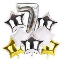 Набор шариков фольгированных Цифра 7 серебро со звездами