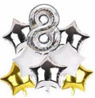 Набор шариков фольгированных Цифра 8 серебро со звездами