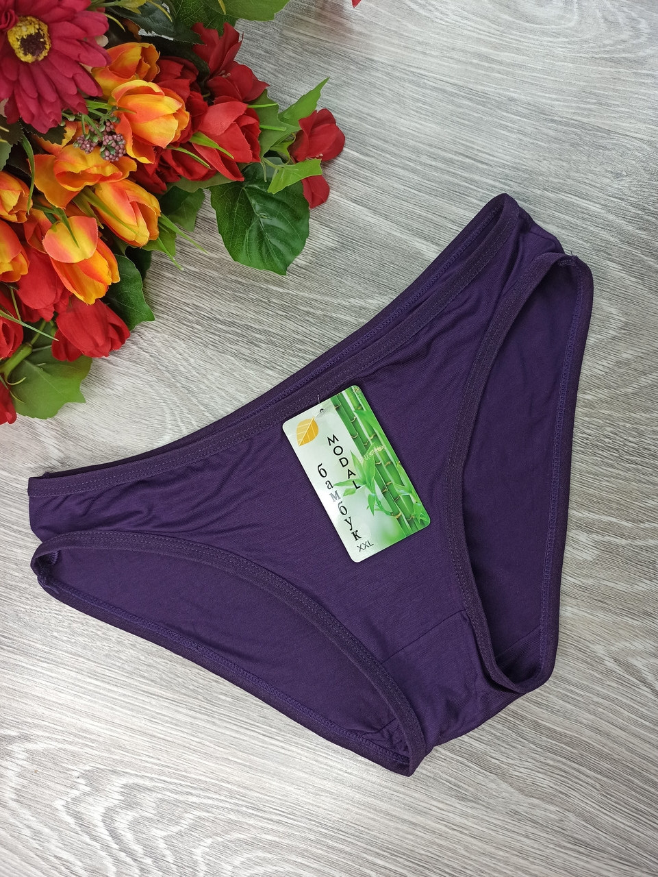 Бамбуковые трусики  женские (модал) узкий бок 46-48р  фиолетовые (1024)