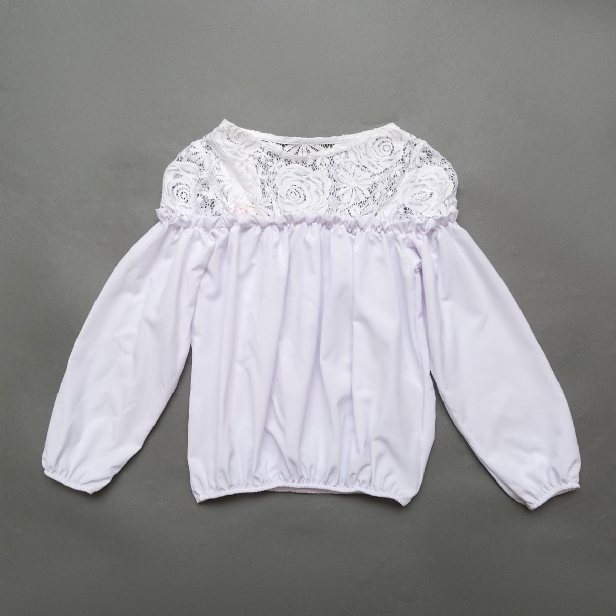 Блузка з довгим рукавом SmileTime Susie з гіпюром, білий