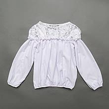 Блузка для дівчинки, довгий рукав, біла з мереживом, SmileTime Susie