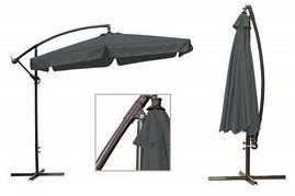 Садовый зонт большой с боковой стойкой и регулировкой наклона серый 3 м AVKO