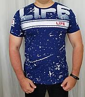Мужская футболка синий цвет с модным принтом из хлопка.