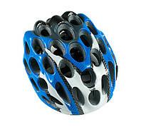 Велосипедный шлем синий с белым, Велошлем  с регулировкой под размер