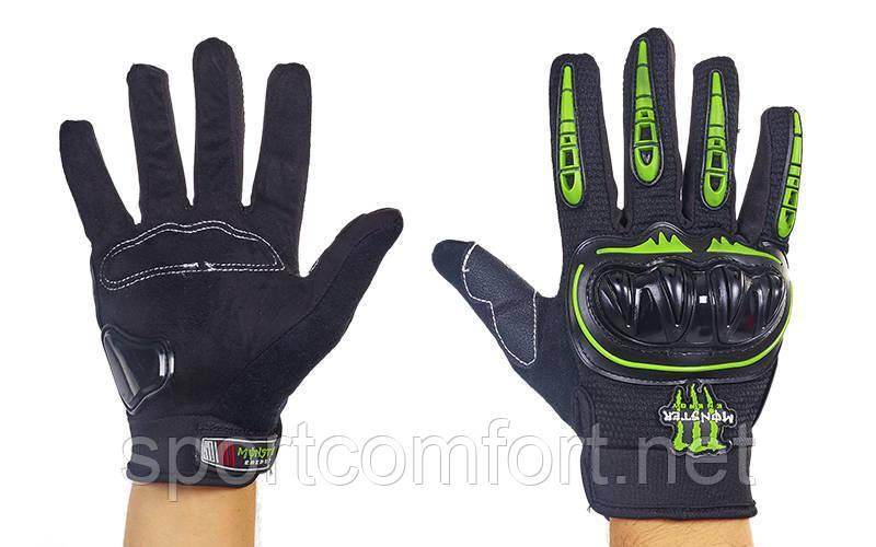 Мотоперчатки Monster energy М с защитой костяшек (полнопалые)