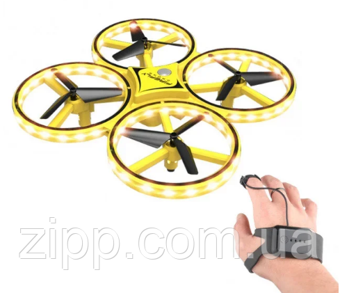 Квадрокоптер Drone TRACker Ultra Yellow дрон с сенсорным управлением жестами руки
