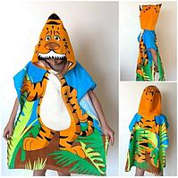 Пляжное детское полотенце-пончо с капюшоном (Тигр)