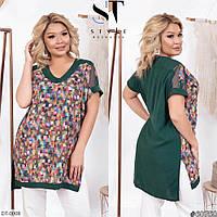 Удобная удлиненная женская блузка-туника на лето больших размеров 52-66 арт 01206