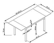 Стол обеденный LOGAN 2 96-142/70/75 см, серый, фото 3