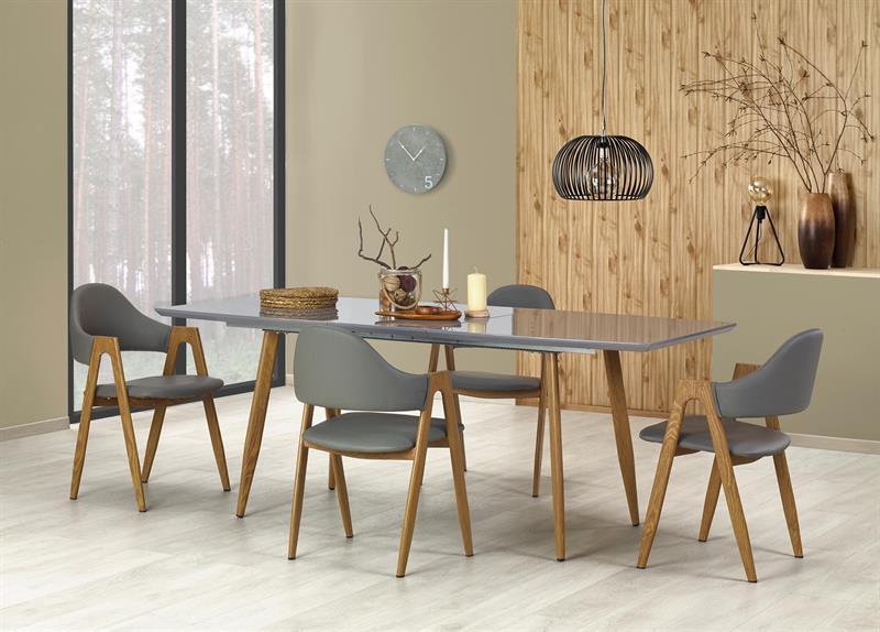 Прямоугольный раскладной обеденный стол серый