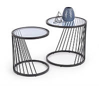 Набор круглых журнальных стеклянных столов на металлических ножках ANTILLA