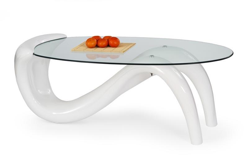 Оригінальний дизайнерський білий овальний стіл журнальний CORTINA