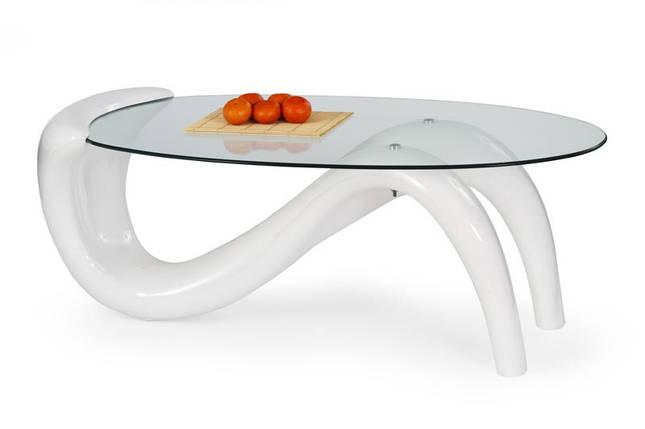 Оригінальний дизайнерський білий овальний стіл журнальний CORTINA, фото 2