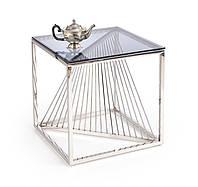Стильный дизайнерский стеклянный стол журнальный на металлических ножках INFINITY KWADRAT