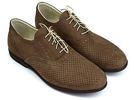 Взуття великих розмірів чоловіча літні м'які коричневі туфлі нубук Rosso Avangard BS Romano ASF Brown NUBPerf