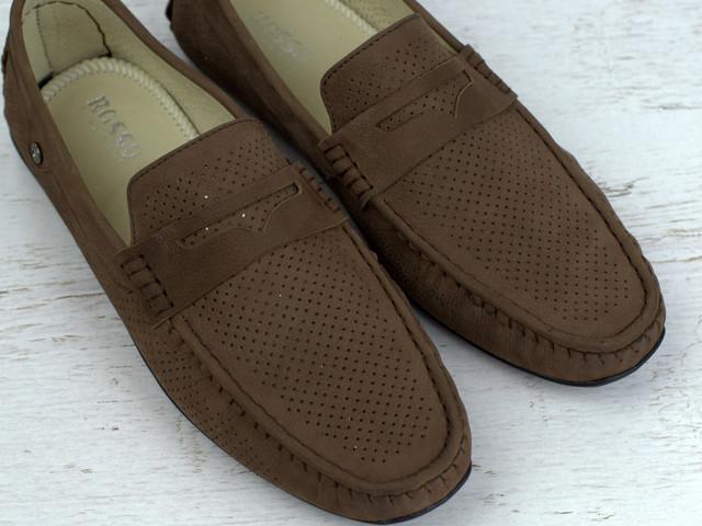 Обувь больших размеров мужская коричневые летние мокасины нубук Rosso Avangard ETHEREAL CappuccBroNubPerfBS