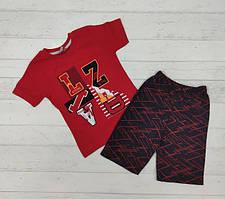 Літній костюм для хлопчика футболка червона  шорти 92-98