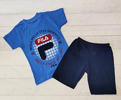Літній костюм для хлопчика  синій футболка шорти 92-98, 116-122,