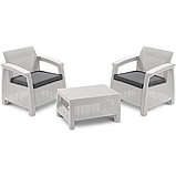 Два комфортних крісла з м'якими подушками та столик CORFU WEEKEND білий (Allibert), фото 7