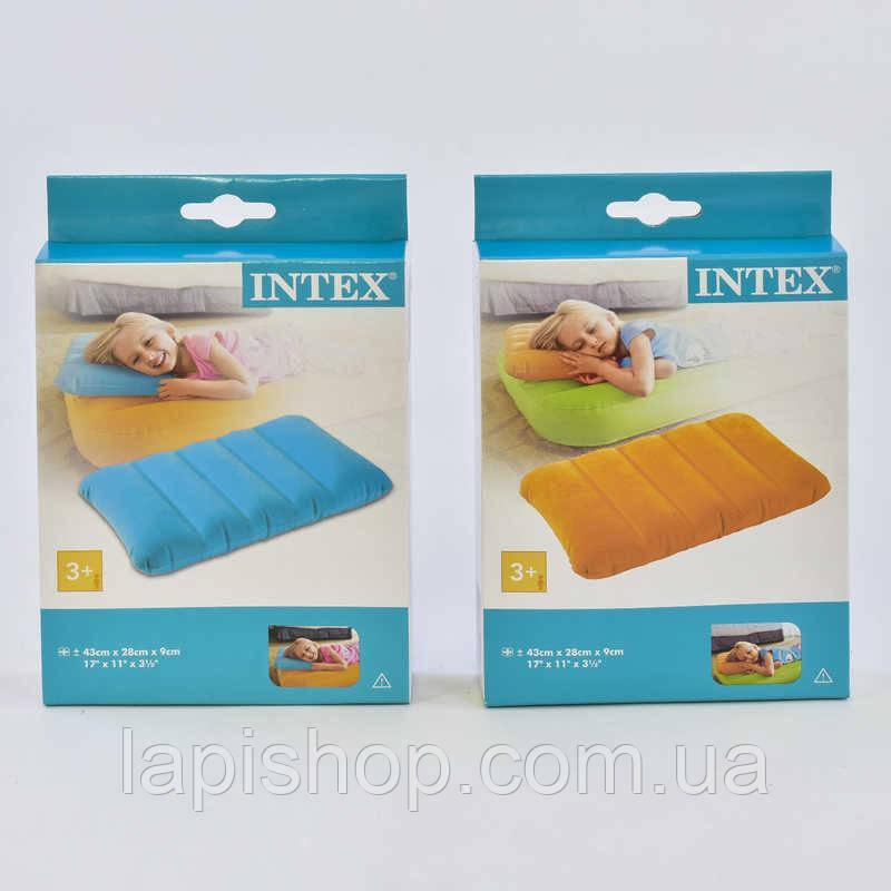 Надувная подушка Intex 68676 цветная 43х28х9см