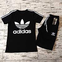Спортивный костюм мужской летний Adidas. Футболка черная с большим логотипом, Шорты Adidas