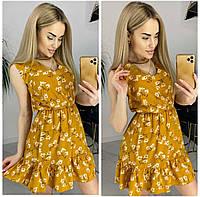 Платье из софта с цветочным принтом женское ГОРЧИЦА (ПОШТУЧНО)