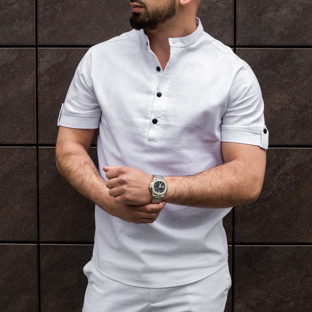 Рубашка мужская из льна белая  S M L XL XXL
