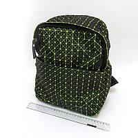 """4474 голографический  рюкзак молодежный женский  """"Компакт"""" черный с зеленым  30х25х12 см"""