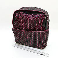 """4474 голографический  рюкзак молодежный женский  """"Компакт"""" черный с розовым  30х25х12 см"""