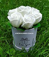 """Букет из мыла, милые белые розы из мыла """"Нежность"""", уникальный вау-подарок для учителя, женщины"""