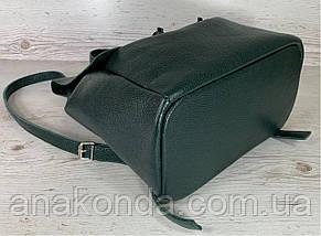 662 Натуральная кожа Городской А-4+ рюкзак кожаный зеленый рюкзак женский из натуральной кожи зеленый А4+, фото 3