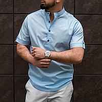 Голубая мужская рубашка из льна S M L XL XXL